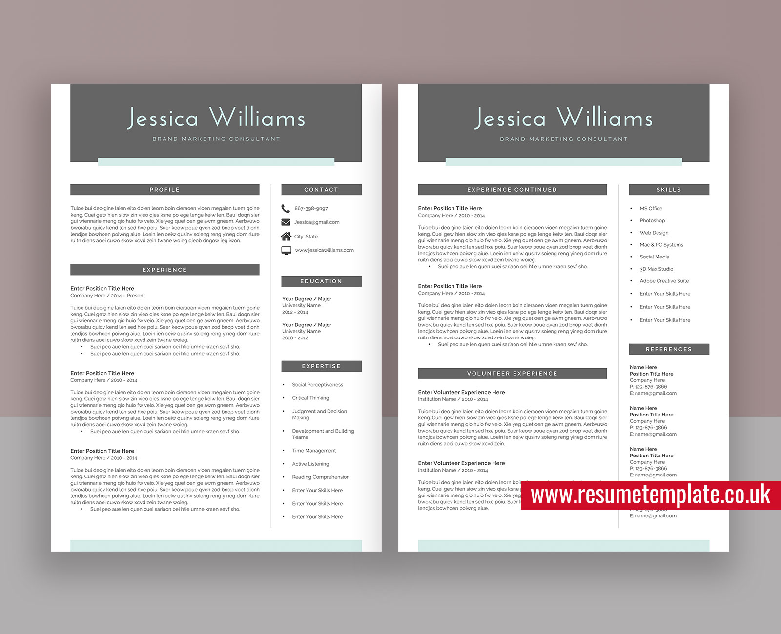 Modern Cv Template Word Simple Resume Teacher Resume Editable Resume 1 3 Page Resume Cover Letter And References For Instant Download Jessica Resume Resumetemplate Co Uk