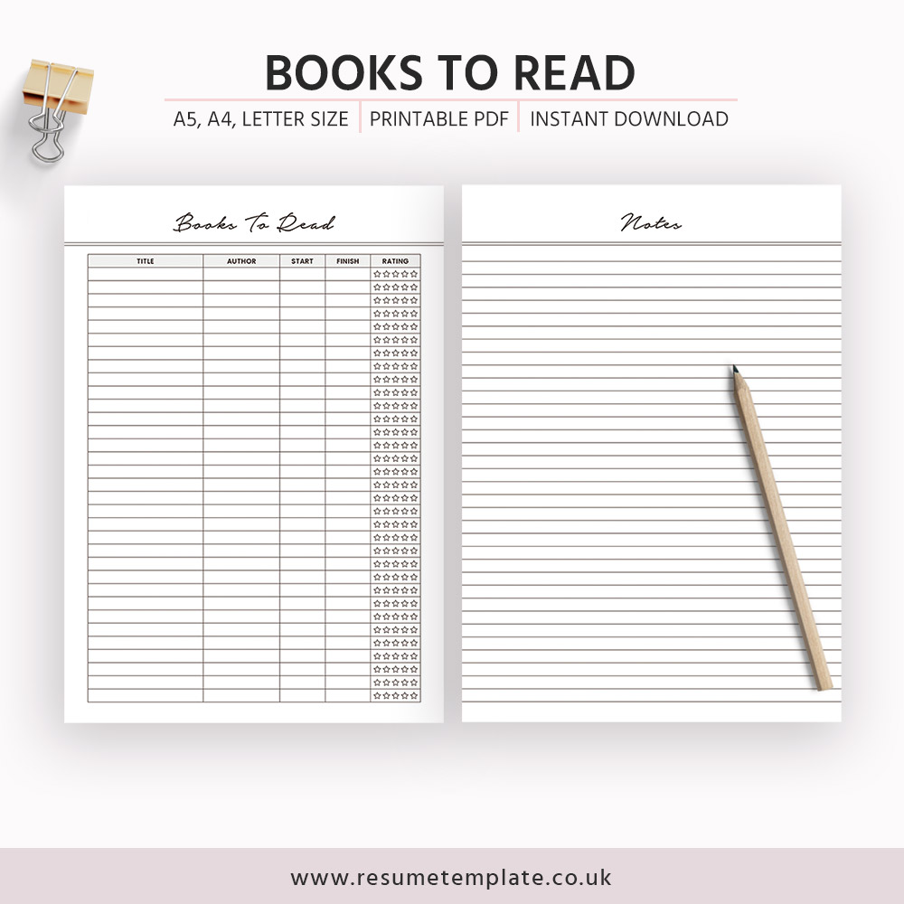Books To Read Insert, Reading List Printable, A5 Planner ...