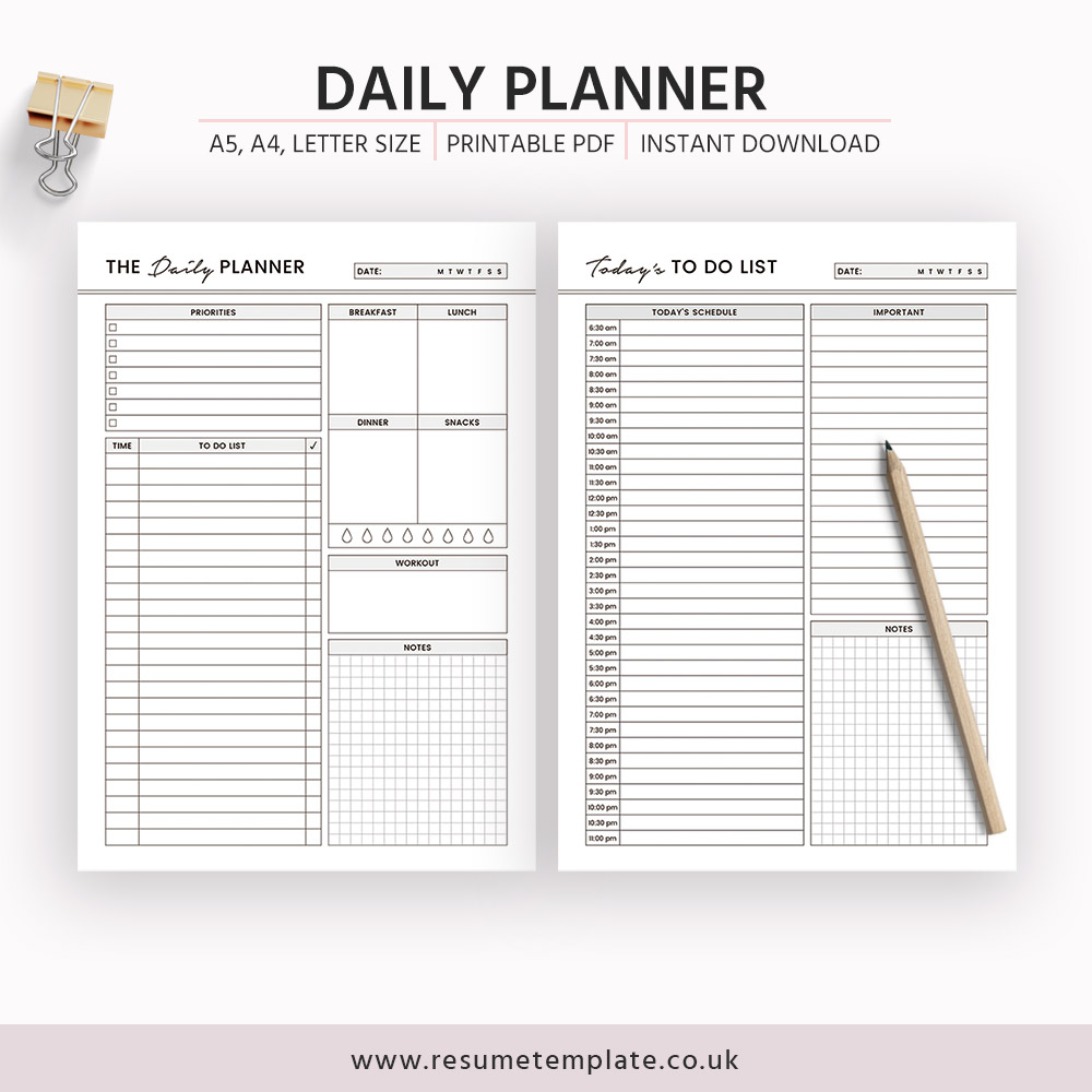 image about A5 Planner Printables titled Everyday Planner, Day-to-day Routine, Toward Do Checklist, Printable Planner, A5 Planner Inserts, A4, Letter Dimensions, Filofax A5, Instantaneous Obtain