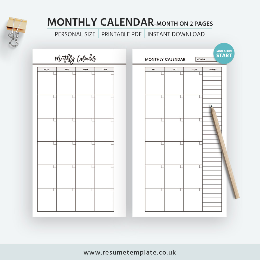 monthly calendar  month on 2 pages  printable personal