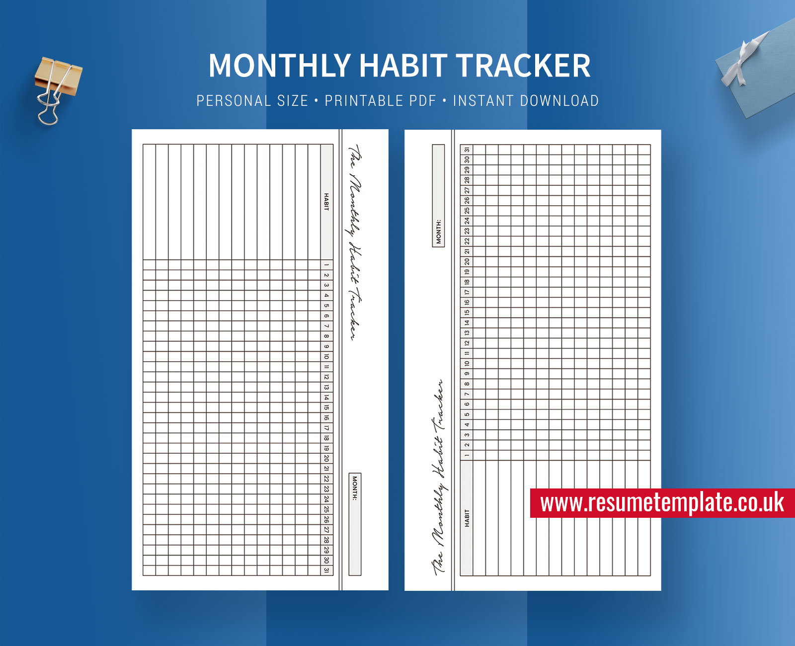 Habit Tracker Monthly Habit Tracker Habit Planner Inserts Personal Size Printable Planner Template Planner Design Filofax Personal Resumetemplate Co Uk