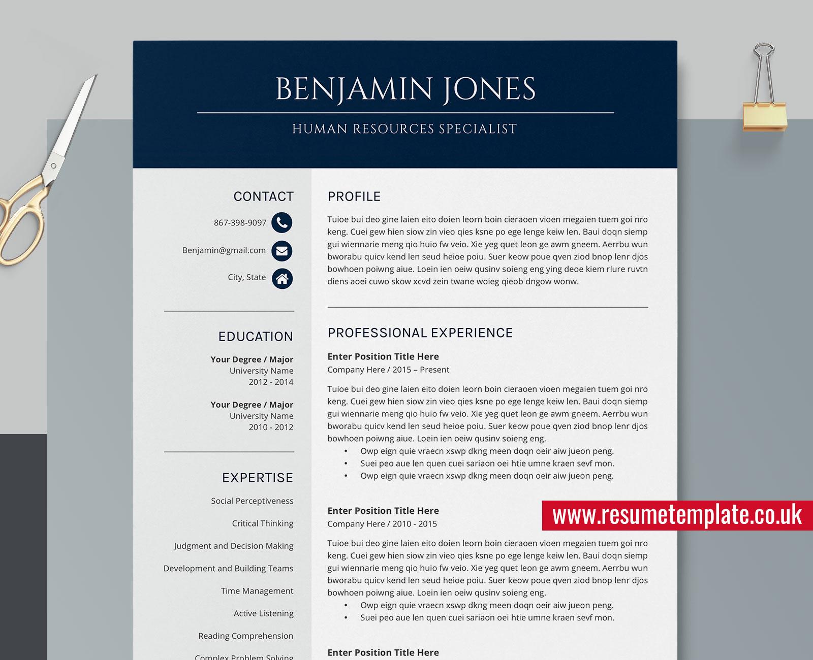 Designer Resume Templates from www.resumetemplate.co.uk