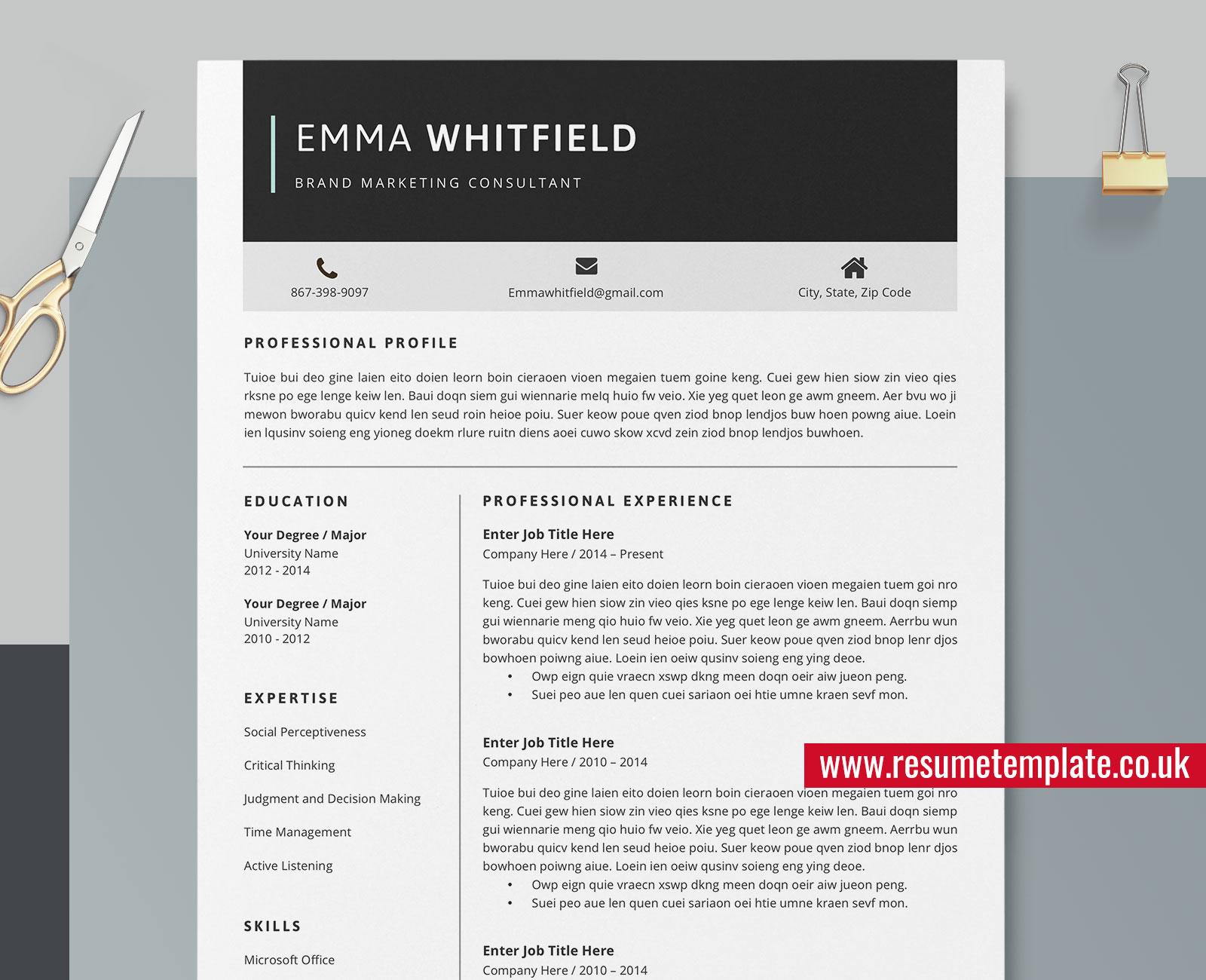 Microsoft Word Cv Template from www.resumetemplate.co.uk