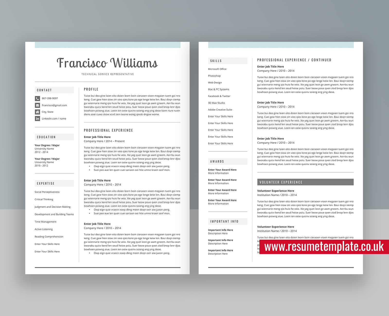 Modern Cv Template For Ms Word Simple Resume Fully Editable Resume 1 3 Page Resume Cover Letter And References For Digital Instant Download Francisco Resume Resumetemplate Co Uk