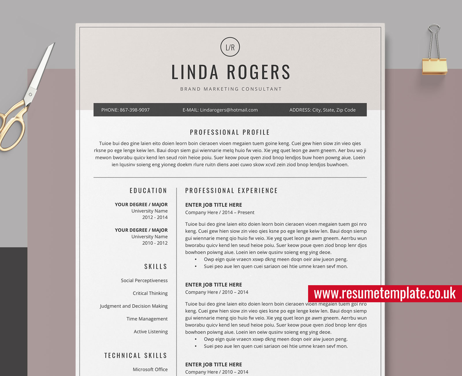 Creative Resume from www.resumetemplate.co.uk