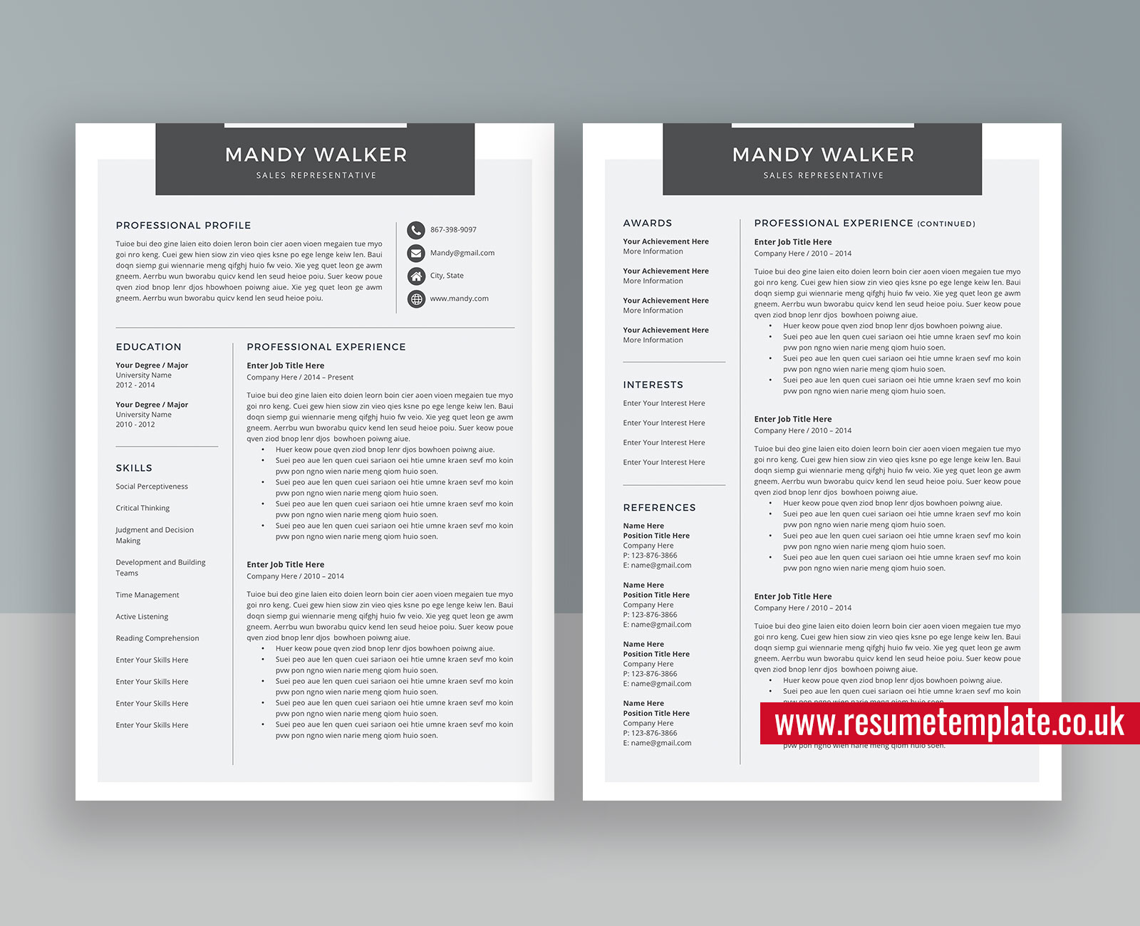 Two Page Resume Template from www.resumetemplate.co.uk