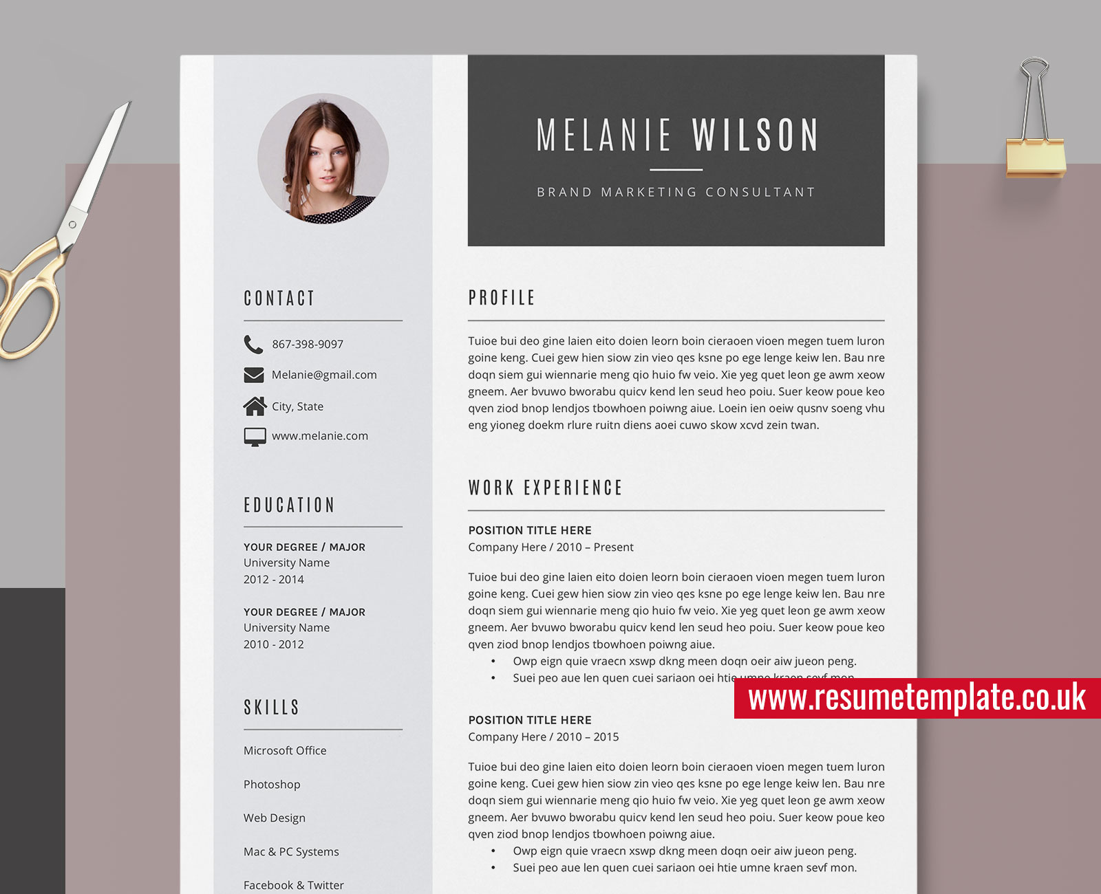 Windows Resume Template from www.resumetemplate.co.uk