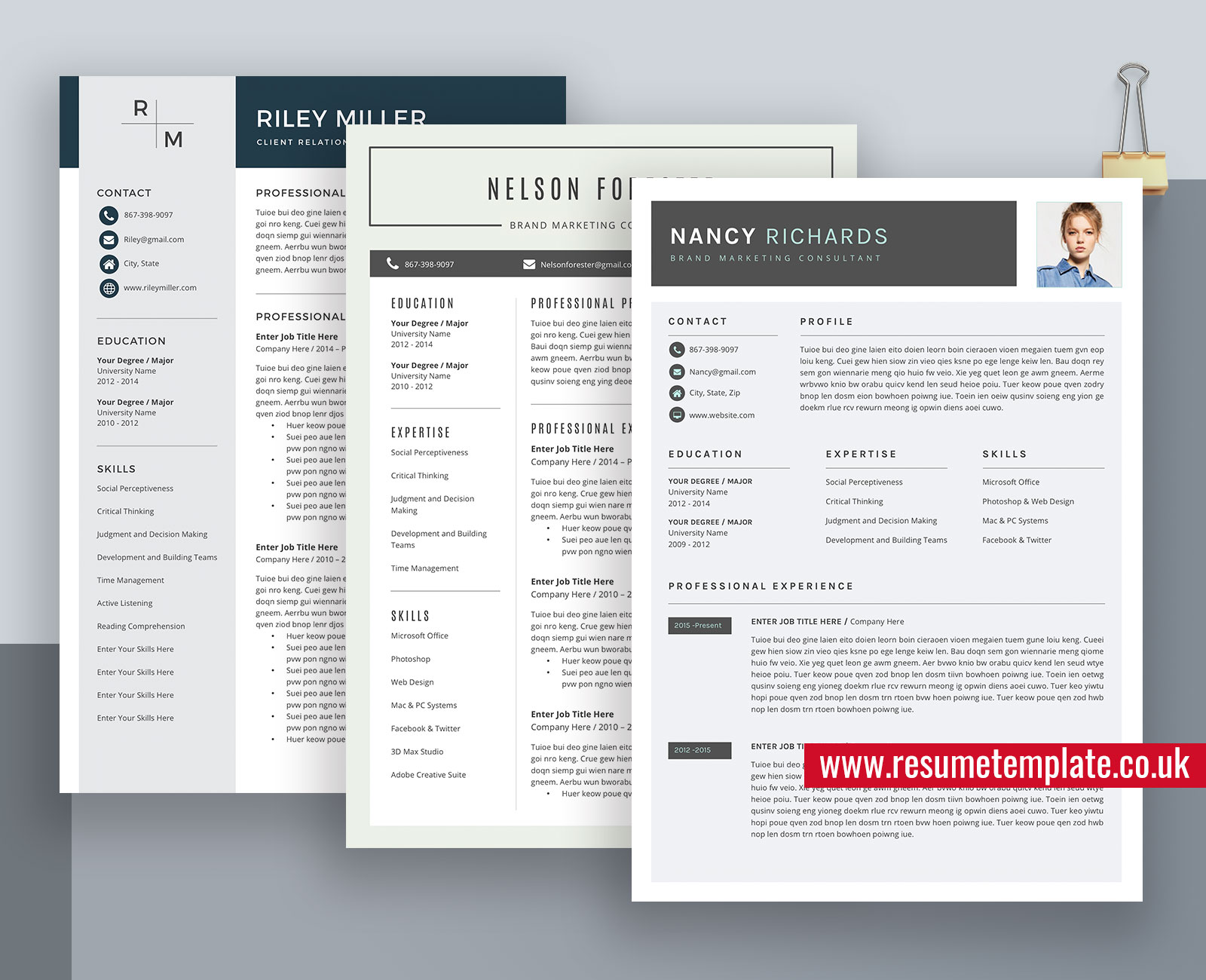 Modern Resume Cv Templates Curriculum Vitae Professional Resume Format Ms Word Resume 1 Page Resume 2 Page Resume 3 Page Resume Instant Download Resumetemplate Co Uk