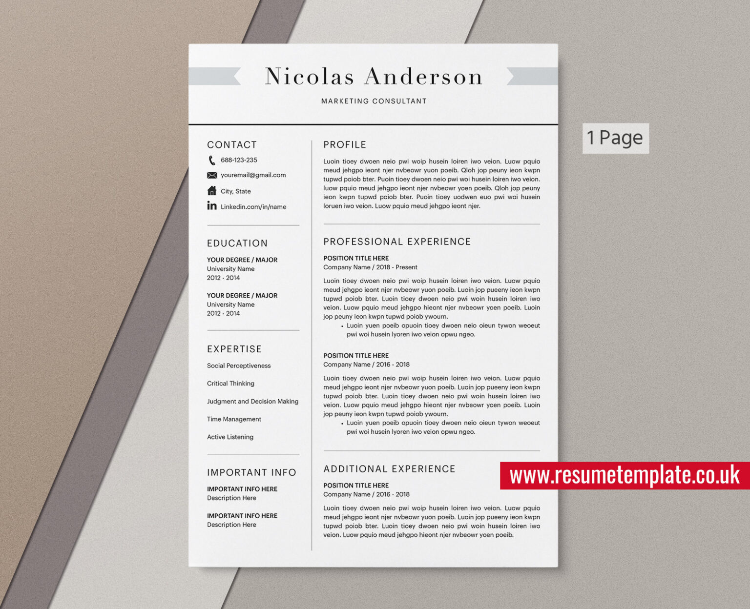Mac Pages - Student Resume / CV Template, Cover Letter and ...