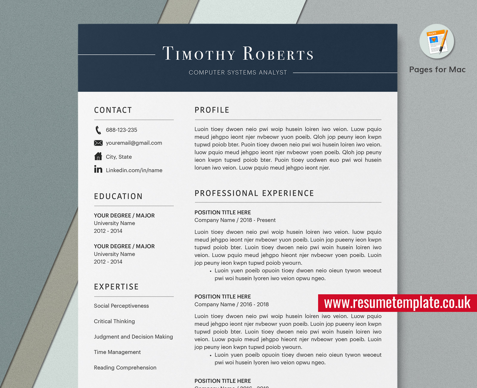 Mac Pages Minimalist Resume Cv Template Cover Letter Curriculum Vitae Professional Resume Format Modern Resume Design 1 4 Page Simple Resume Resumetemplate Co Uk