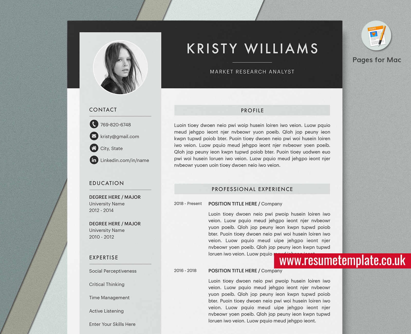 Mac Pages Modern Resume Cv Template Cover Letter Curriculum Vitae 1 4 Page Professional Cv Template Design Creative Resume For Job Application Instant Download Resumetemplate Co Uk