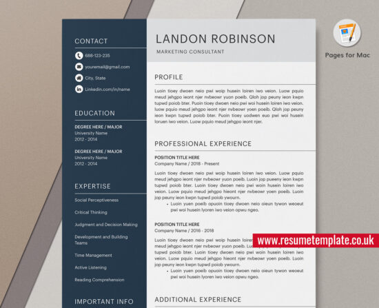 Mac Pages - Simple Resume / CV Template, Cover Letter ...